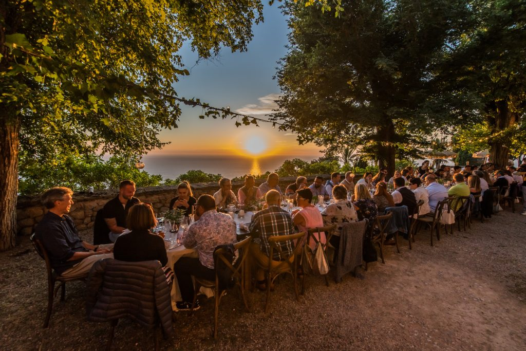 Monastery Deia Sunset Dinner Flycam Media Incentive and Event Photographer Mallorca and Ibiza