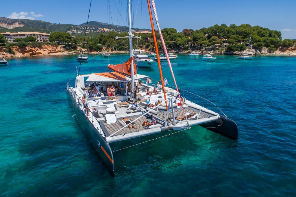 Catamaran Attraction Aerial Flycam Media Incentive and Event Photographer Mallorca and Ibiza