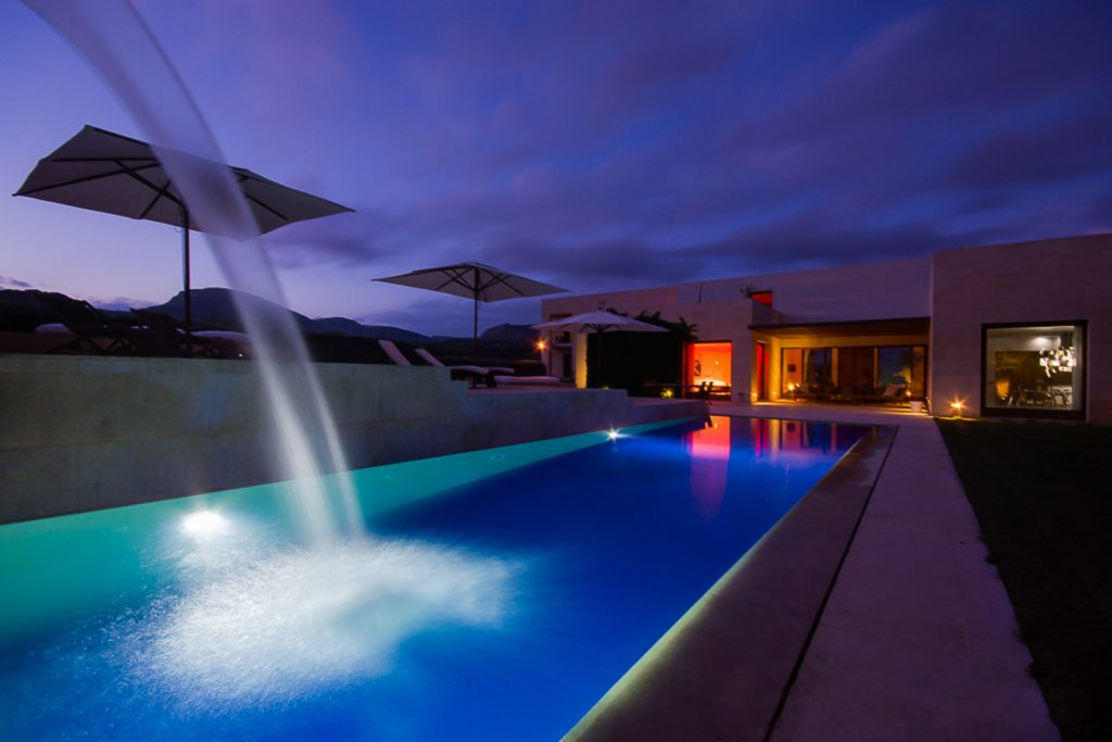 Finca San Llorence Pool at Night Flycam Media High Quality Real Estate Photography Mallorca Ibiza
