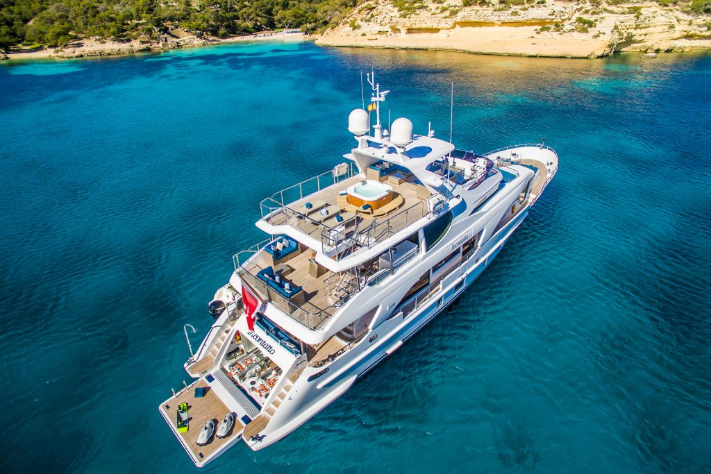 M/Y Incontatto Benetti Superyacht Aerial Bay Mallorca Photography Yacht Photographer Multicopter Yacht Photography Mallorca Ibiza Spain Drone