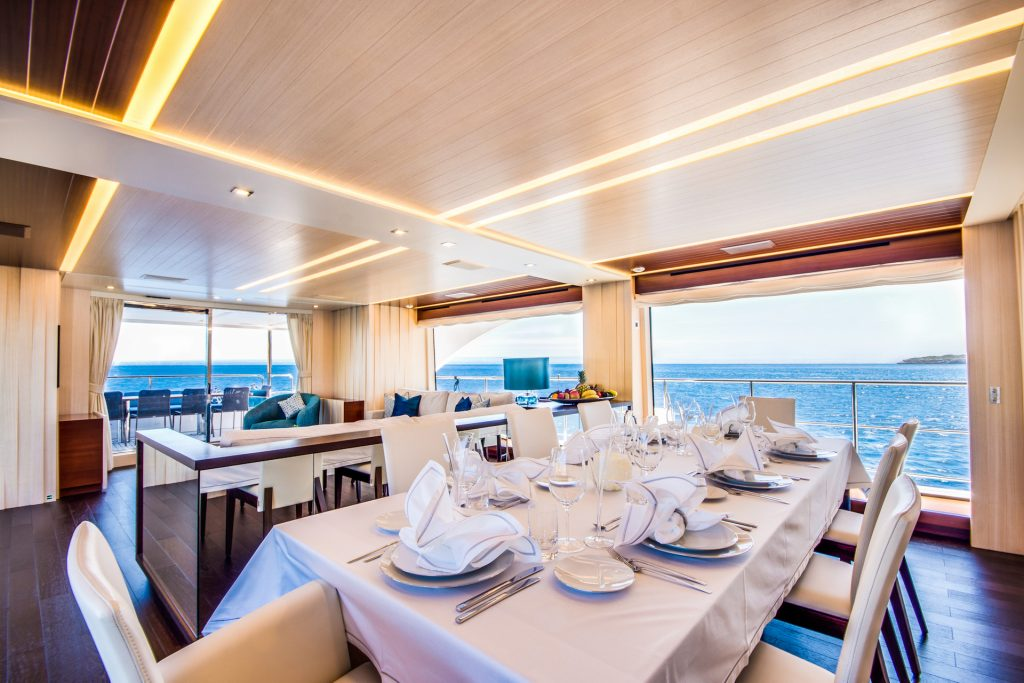 M/Y Incontatto Benetti Superyacht Salon Table Mallorca Photography Yacht Photographer Multicopter Yacht Photography Mallorca Ibiza Spain Drone
