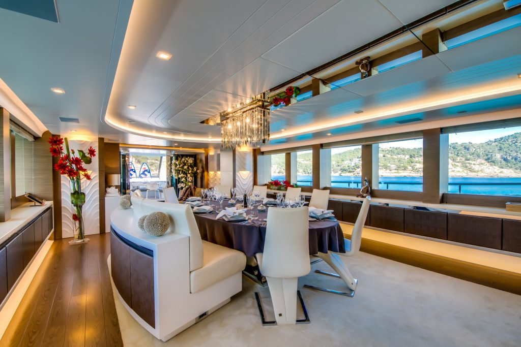 M/Y Aziza Superyacht Salon Table Daylight Mallorca Photography Yacht Photographer Multicopter Yacht Photography Mallorca Ibiza Spain Drone