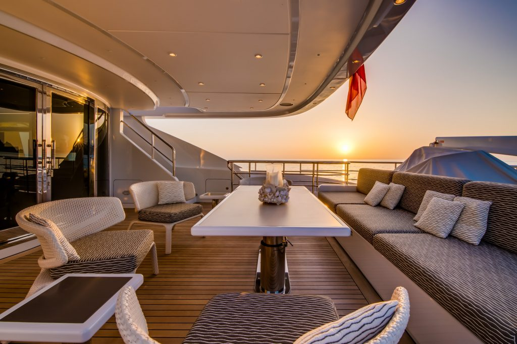 M/Y Aziza Superyacht Deck Table Mallorca Photography Yacht Photographer Multicopter Yacht Photography Mallorca Ibiza Spain Drone