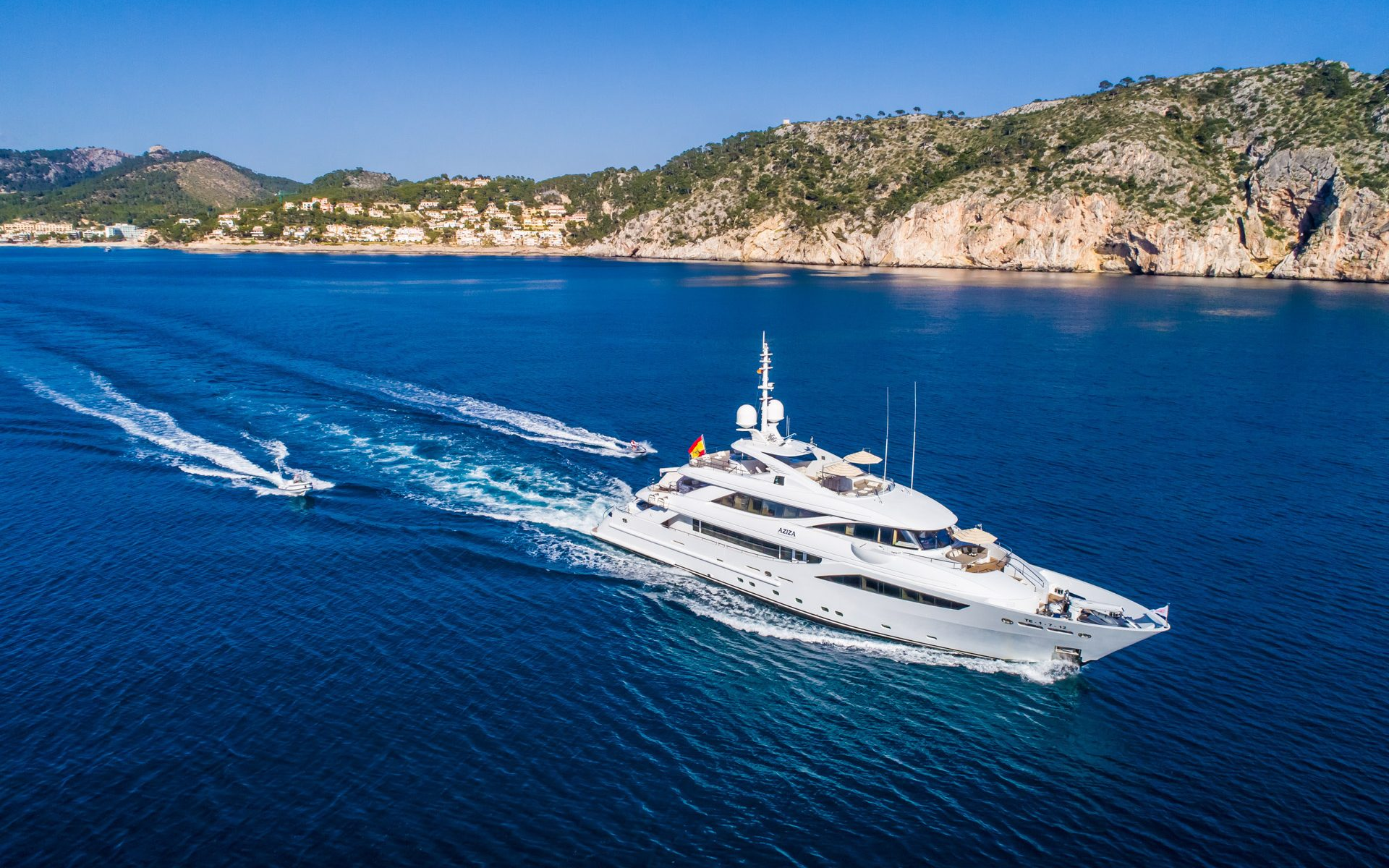 M/Y Aziza Superyacht Aerial with Tender Mallorca Photography Yacht Photographer Multicopter Yacht Photography Mallorca Ibiza Spain Drone