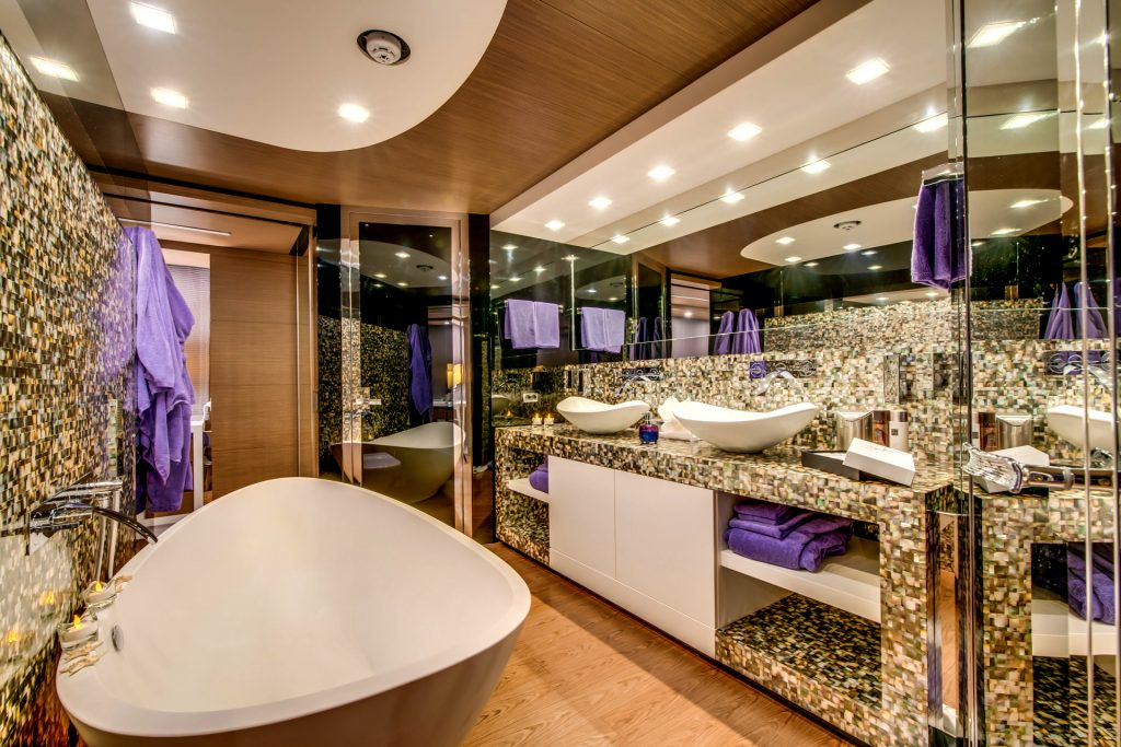 M/Y Aziza Superyacht Main Bathroom Mallorca Photography Yacht Photographer Multicopter Yacht Photography Mallorca Ibiza Spain Drone