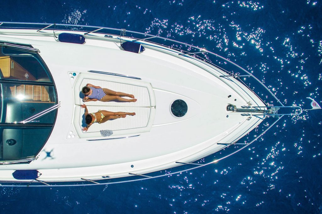 Top View No Mercy Sunseeker Predator Flycam Media Yacht Photography Mallorca